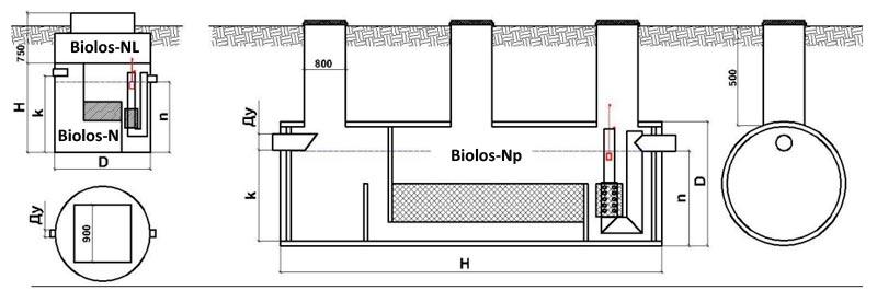 схема размещения сепаратора нефти Biolos-NB картинка